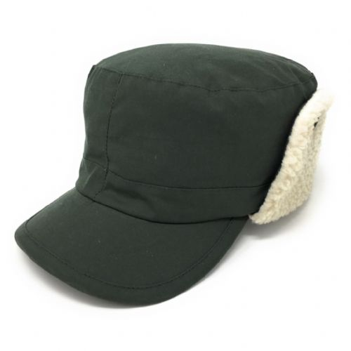 Waterproof Wax Cotton Trapper Hat with Ear Flap and Fleece Lining - Green